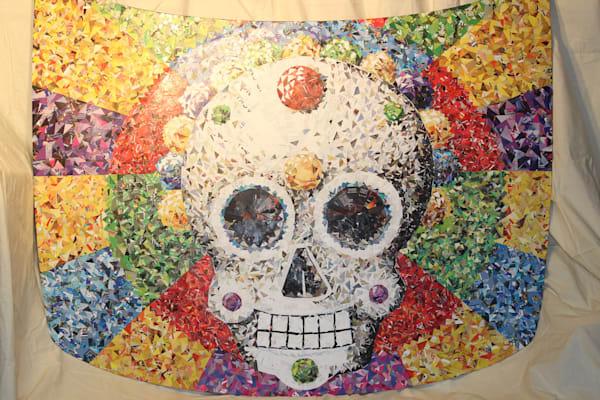 Sugar skull original painting on car hood, wall art, home decor
