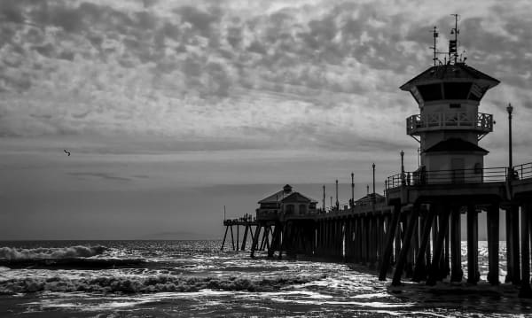 Huntington Beach Pier B W Photography Art by Mason & Mason Images