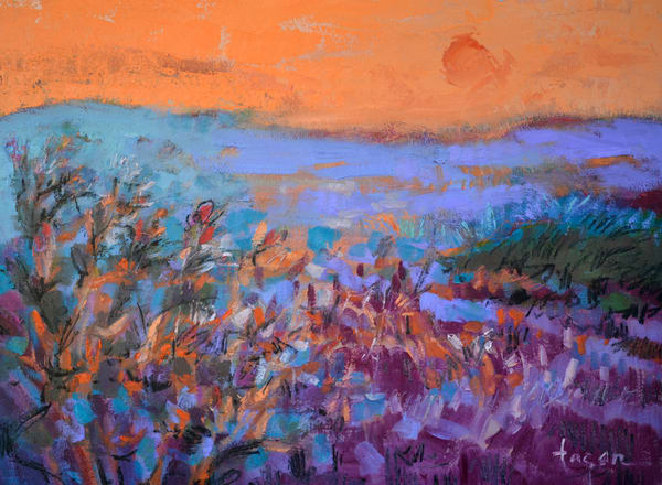 Colorful Abstract Landscape Painting, Art Print on Canvas, Sweetness of the Evening by Dorothy Fagan