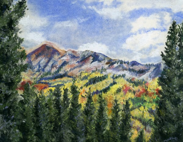 Original chalk and oil pastel artwork of Kenosh Pass, CO in Fall by artist Mary Anne Hjelmfelt.
