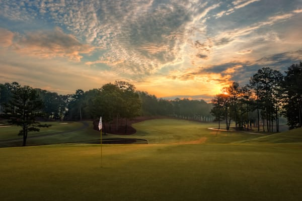 Late afternoon from the green, looking back toward the tee at Dunwoody Country Club's 17th hole