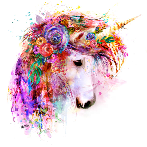 Bright unicorn art painting print by Sally Barlow