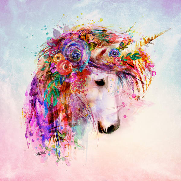 Unicorn art on watercolor background print by Sally Barlow