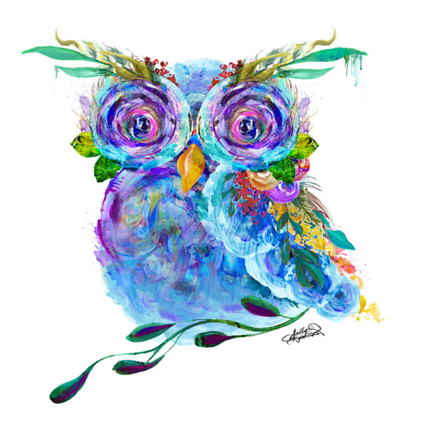 Unique flower owl mixed media art print by Sally Barlow