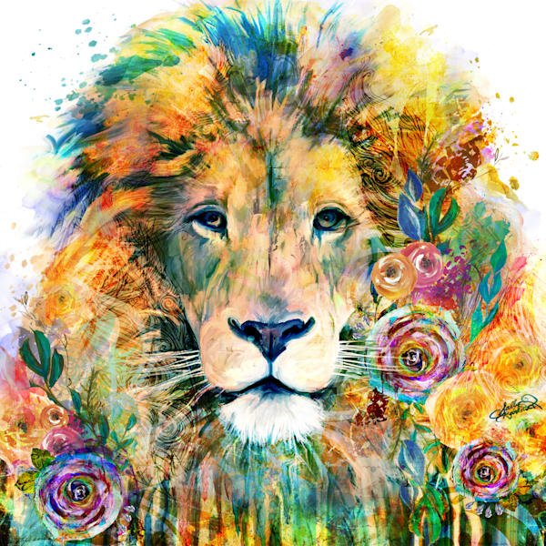 Bright and bold lion art from the garden of the wild series by Sally Barlow