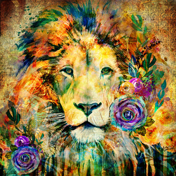 Garden of the Wild Series Lion Art mixed media painting by Sally Barlow