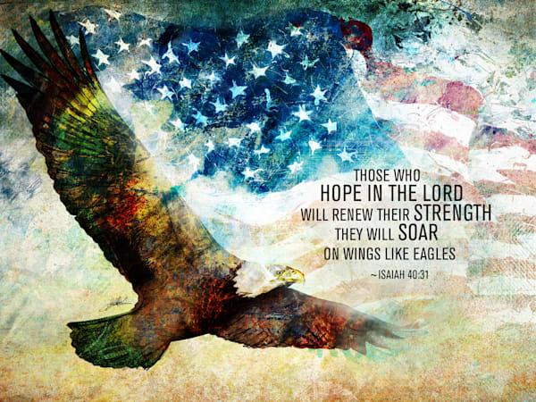 American Eagle Soar Isaiah Scripture  Art   Sally Barlow, Makaio Design