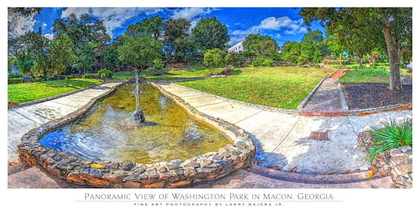 Panoramic View of Washington Park in Macon GA from Main Fountain