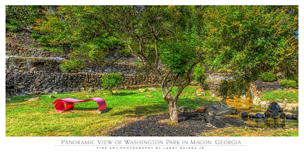 View of Modern Red Bench at Washington Park in Macon GA