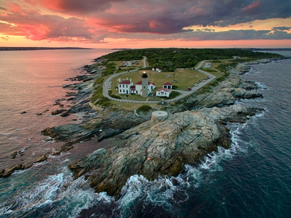 """Over Beavertail"" Rhode Island Aerial Lighthouse Photograph"