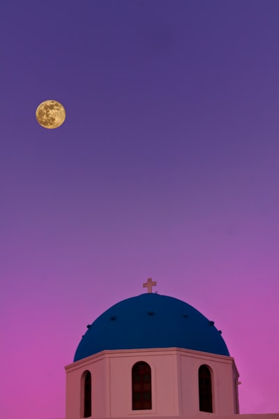 Moonrise Over Santorini Photography Art | John Martell Photography