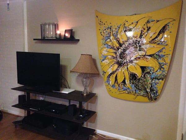 Sunflower art, car hood, original drawing painting, home decor