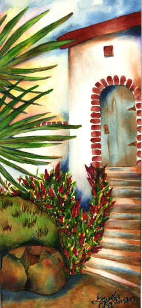 Santa Fe style adobe art by Gayela's Premiere Watercolor|Main Store