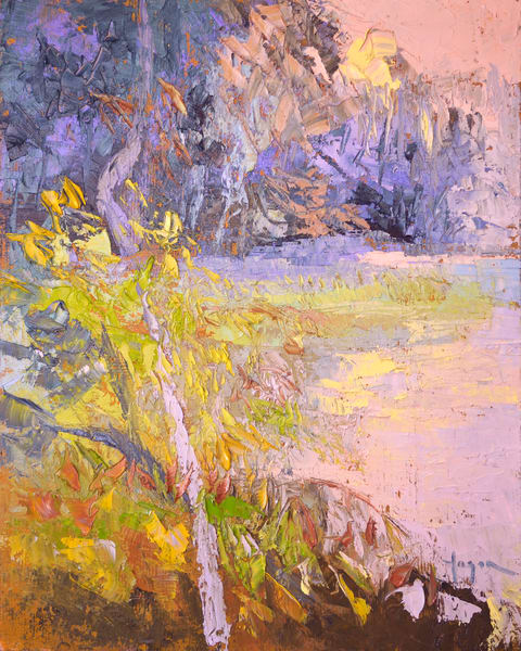 Pastel Coastal Marsh Landscape Painting, Art Print on Canvas or Paper, Gently Sunset  by Dorothy Fagan