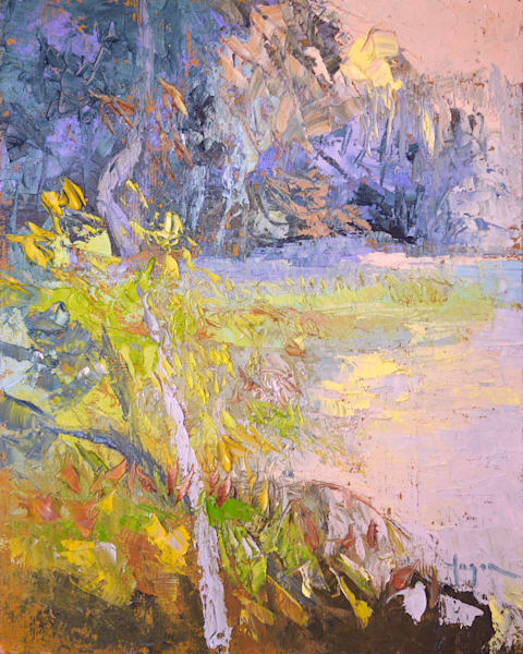 Coastal Marsh Art, Gently Sunset, Original Oil Painting by Dorothy Fagan