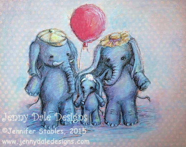Elephant Family with Balloon