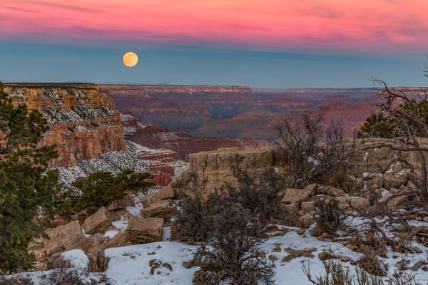 Moonset Over The Grand Canyon photograph as art by Mike Jensen