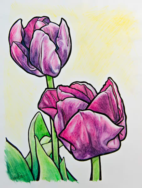 Art Nouveau Purple Tulips