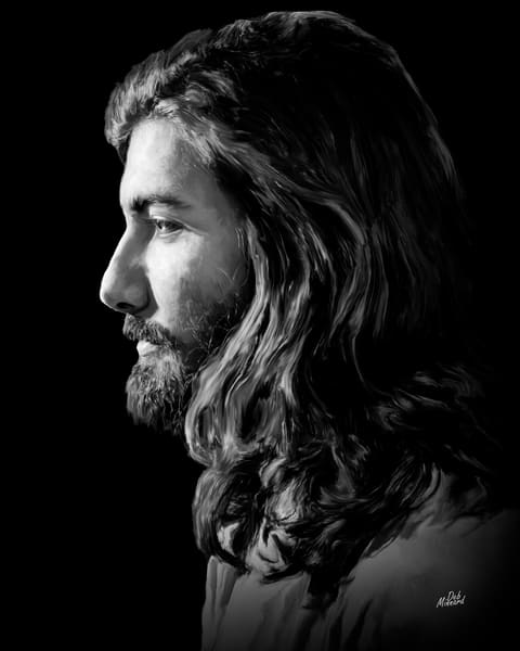 Jesus in profile, black and white