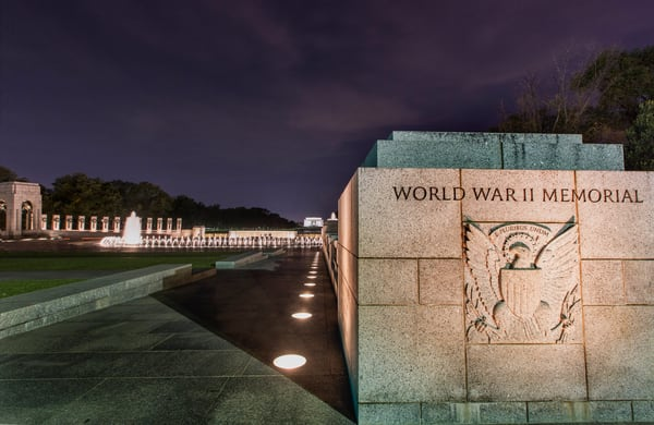 WWII Memorial Entry night photograph for sale as art by Mike Jensen
