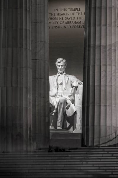 Lincoln Memorial Black And White night photograph for sale as art by Mike Jensen