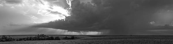 Storm Over the Kansas Flint Hills - bw