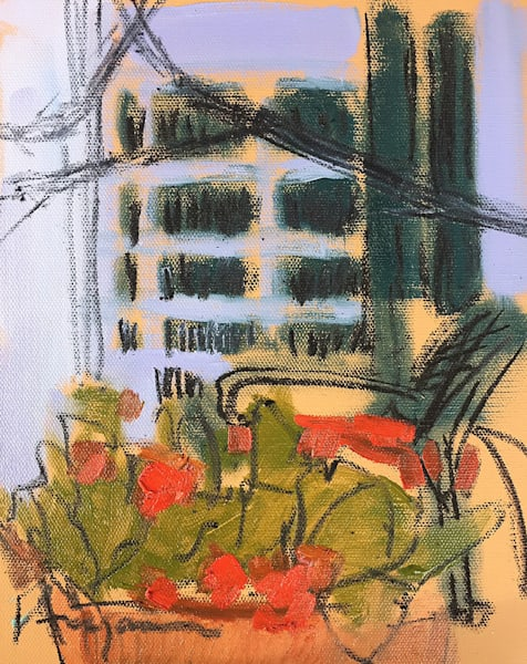 Red Porch Rendezvous I   Small Original Painting Dorothy Fagan Collection