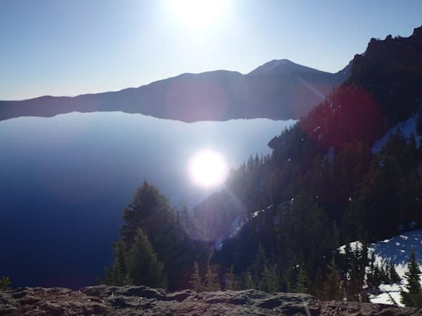 Crater Lake, Sun Reflection by Ryn Arnold