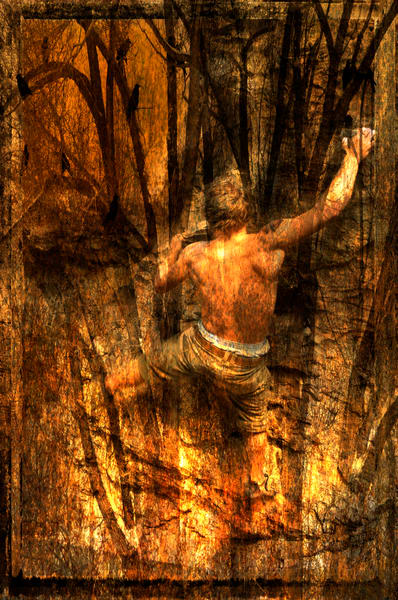 rock climber climbing up from a firey base