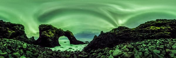Auroras Over Gatklettur Sea Arch - 360 Panorama