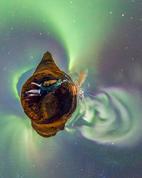 Auroras Over Kirkjufell, Iceland - 360 Planet Panorama