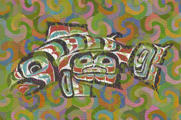"""Salmon Stretched Canvas Print by Peter McClard at VectorArtLabs.com"""