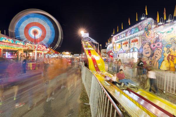 Slides and Ferris Wheel at Hopkinton State Fair