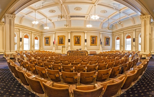 A wide angle pano of the Senate Chambers at the NH State House