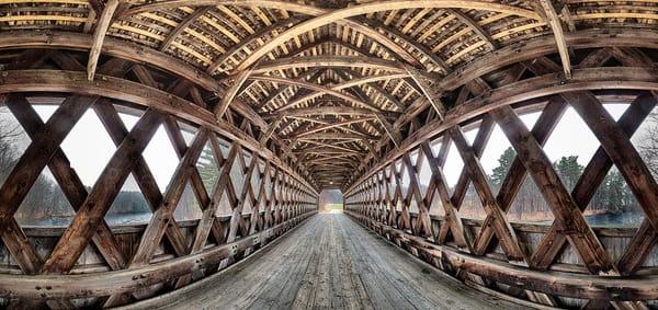 A visually stunning pano image of the Henniker, NH covered bridge