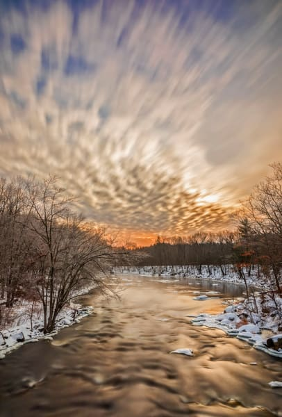 Cold winter sunrise over the Contoocook River in Henniker