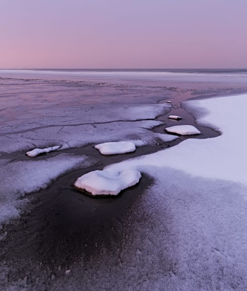 Snowy evening purples on Jenness Beach