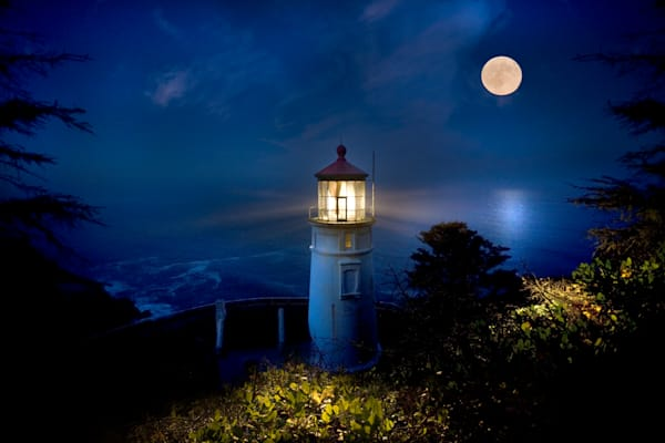 Heceta Head Lighthouse Moonset: by Curt Peters