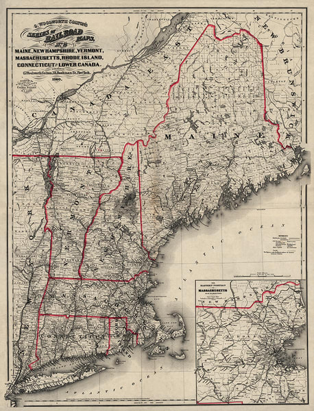 New England Railroad Map 1860