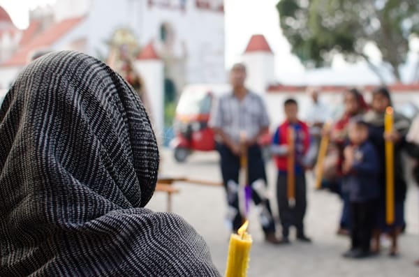 Woman In A Grey Shawl | Travel Photo For Sale