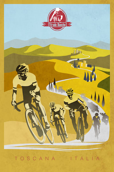 Strade Bianche cycling art by Sassan Filsoof, bike art, cycling art, retro cycling, vintage cycling, Italy, Tuscany, tiffosi, bike art, travel art,