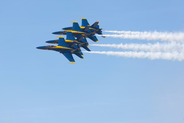 US Navy Blue Angels fly-by in tight formation - fine art photograph