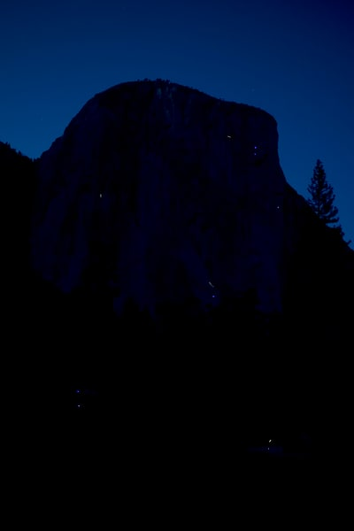 Rock climbers on El Capitan at dusk