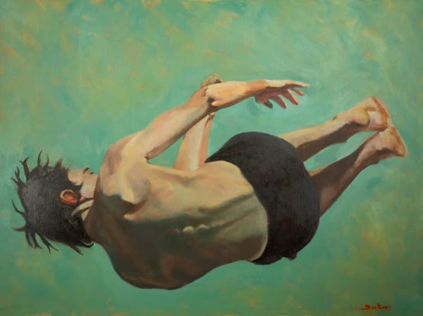 Human movement oil painting print Topple by artist Booker Tueller