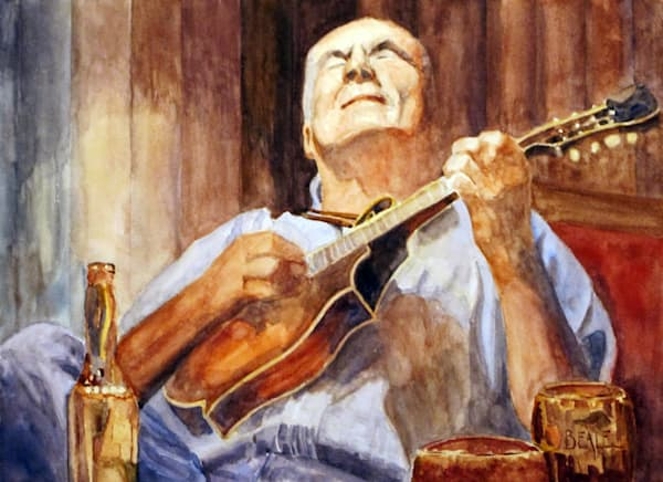 Trad Musician At The Clover Leaf Pub Art | David Beale