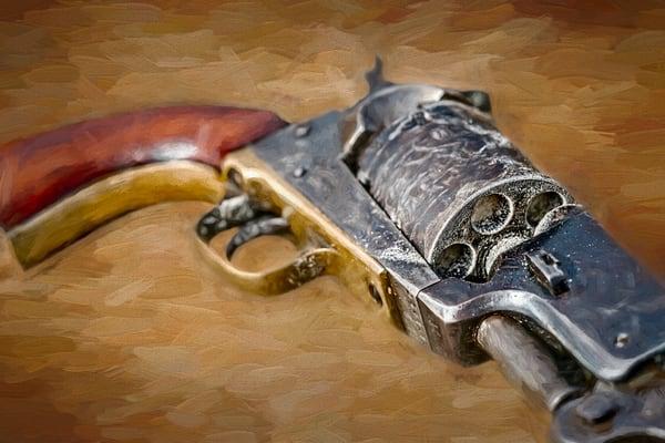 Civil War 44 Cal Pistol Painting Closeup Realistic Historic fleblanc