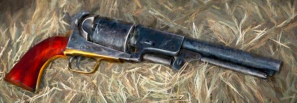 Civil War Pistol 44 Cal Painting Pano Realistic Historic fleblanc