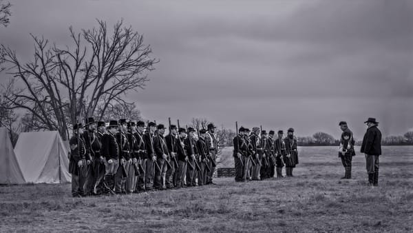 Civil War Soldiers Reenact Monochrome Realistic Historic fleblanc