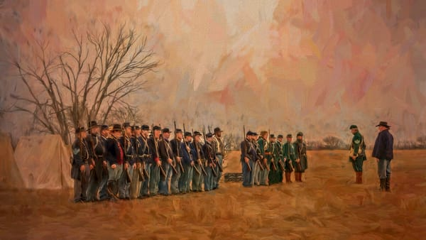 Civil War Formation Warm Painting Realistic Historic fleblanc