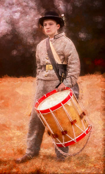 Civil War Drummer Boy Drum Painting Realistic Historic fleblanc